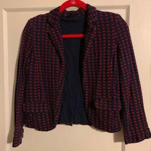 Topshop size 6 navy w red hearts sweatshirt blazer